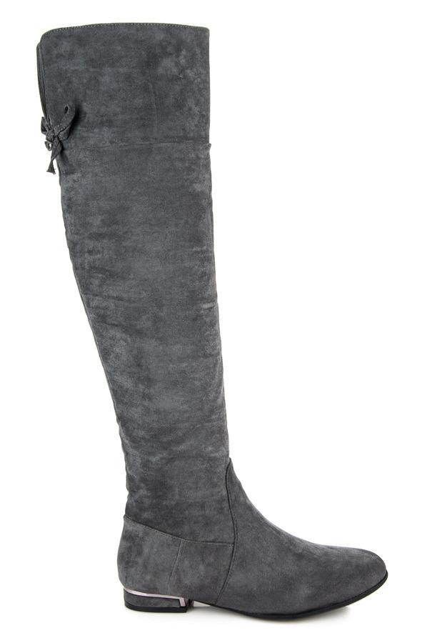 05b1b600de55c Dámske šedé vysoké čižmy na nízkom podpätku - 3129-6D.G | dawien.sk