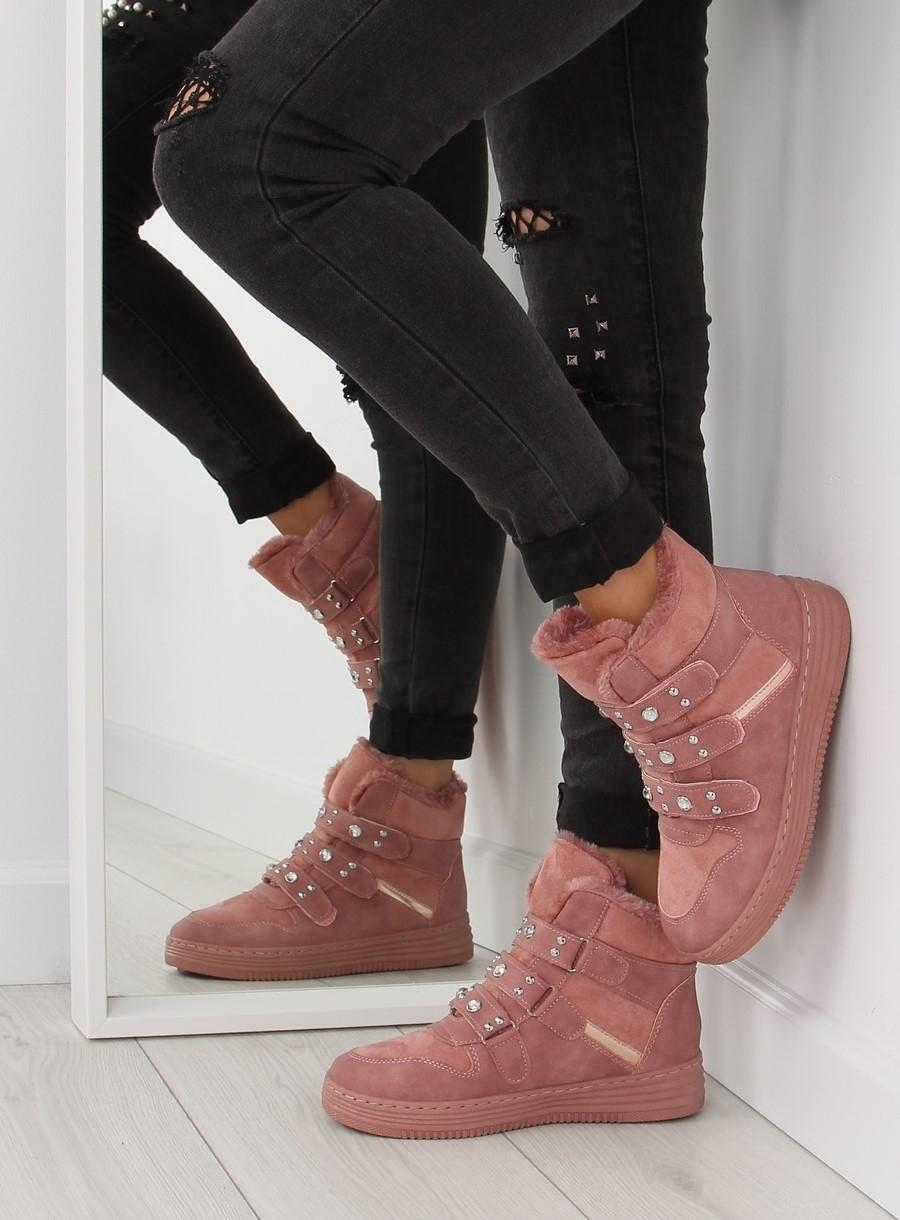 Dámske ružové zateplené tenisky - ZJY-29  1aee676e54e