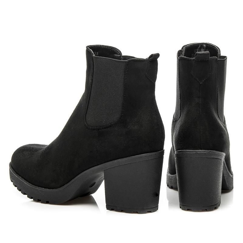 8acbcdeb7 Dámske čierne členkové topánky na podpätku - B2880B | dawien.sk