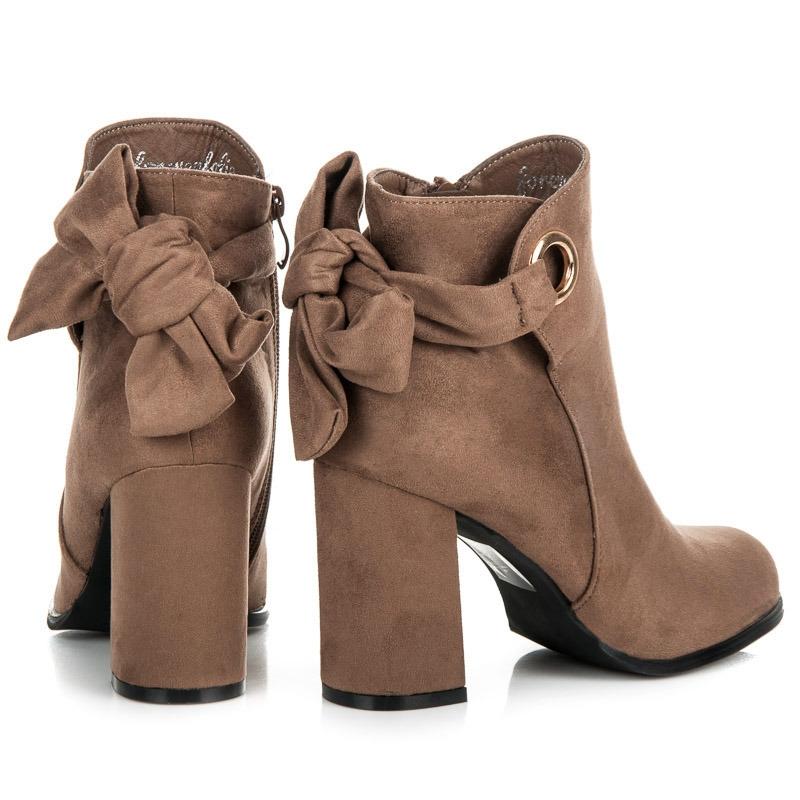 bb5ddcbba1 Dámske hnedé členkové topánky na stĺpcovom podpätku s mašľou - YBS1612KH