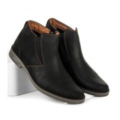 Pánske čierne členkové topánky - 035B
