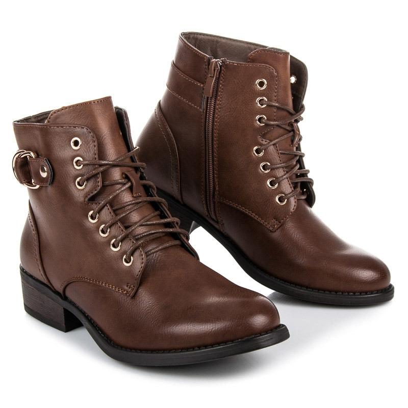 cb413460be063 Dámske hnedé členkové topánky - BO-165KH   dawien.sk