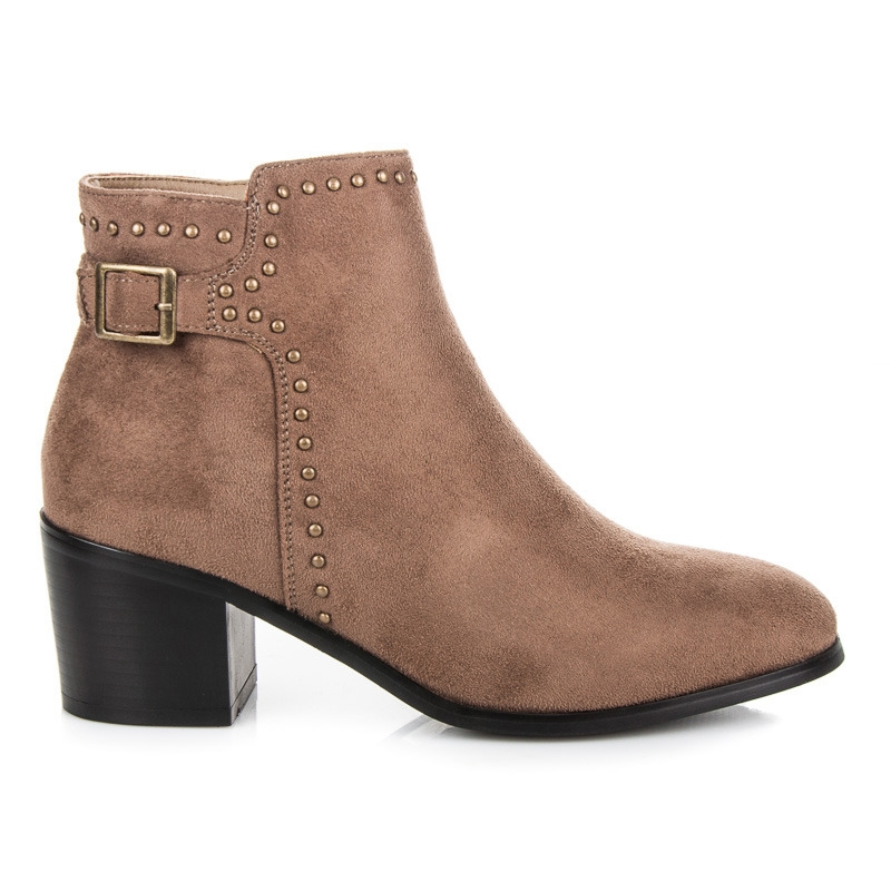 a5e725c569 Dámske hnedé semišové členkové topánky s prackou - 3255KH