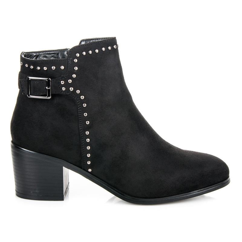 8c6fb949af Dámske čierne semišové členkové topánky s prackou - 3255B