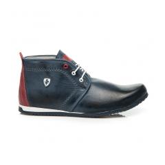 Pánske modré kožené členkové topánky - 276BL