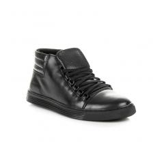 Pánske čierne kožené členkové topánky - 304B//