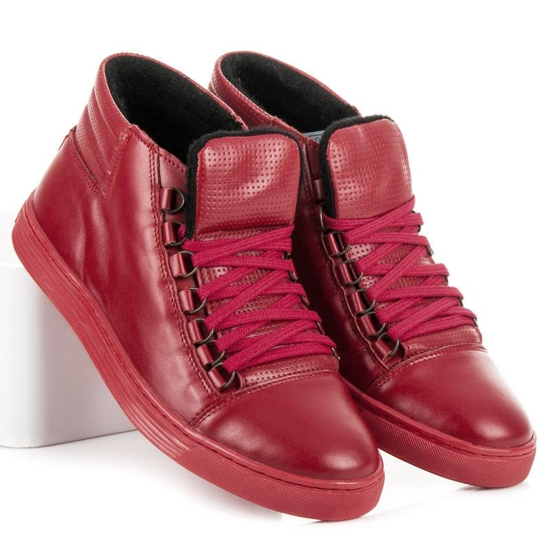 5f9546e9181a2 Pánske červené kožené členkové topánky - 304R | dawien.sk