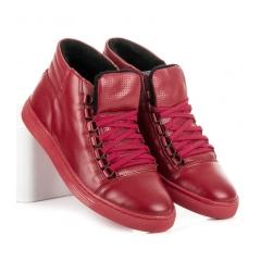 Pánske červené kožené členkové topánky - 304R