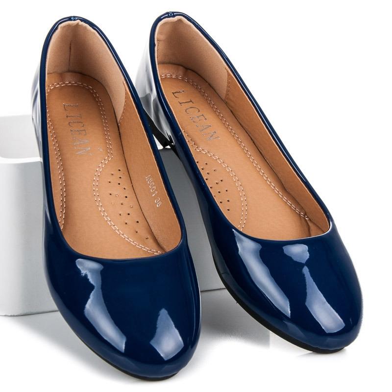 acee5d721ec5 Dámske modré lakované balerínky - A8601BL