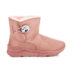 Dámske ružové snehule s gombíkom - K-185P