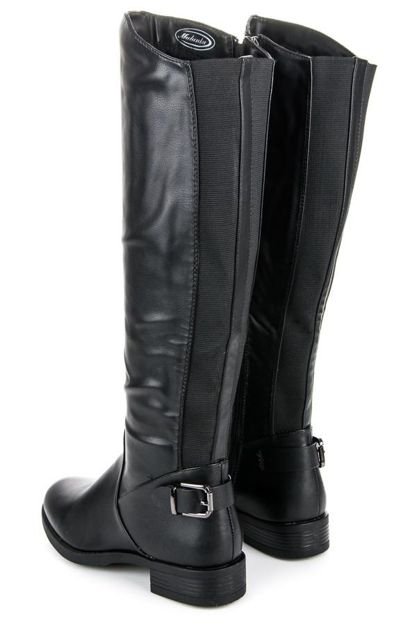 16c905ed39f6 Dámske čierne vysoké čižmy na nízkom podpätku - A-3B