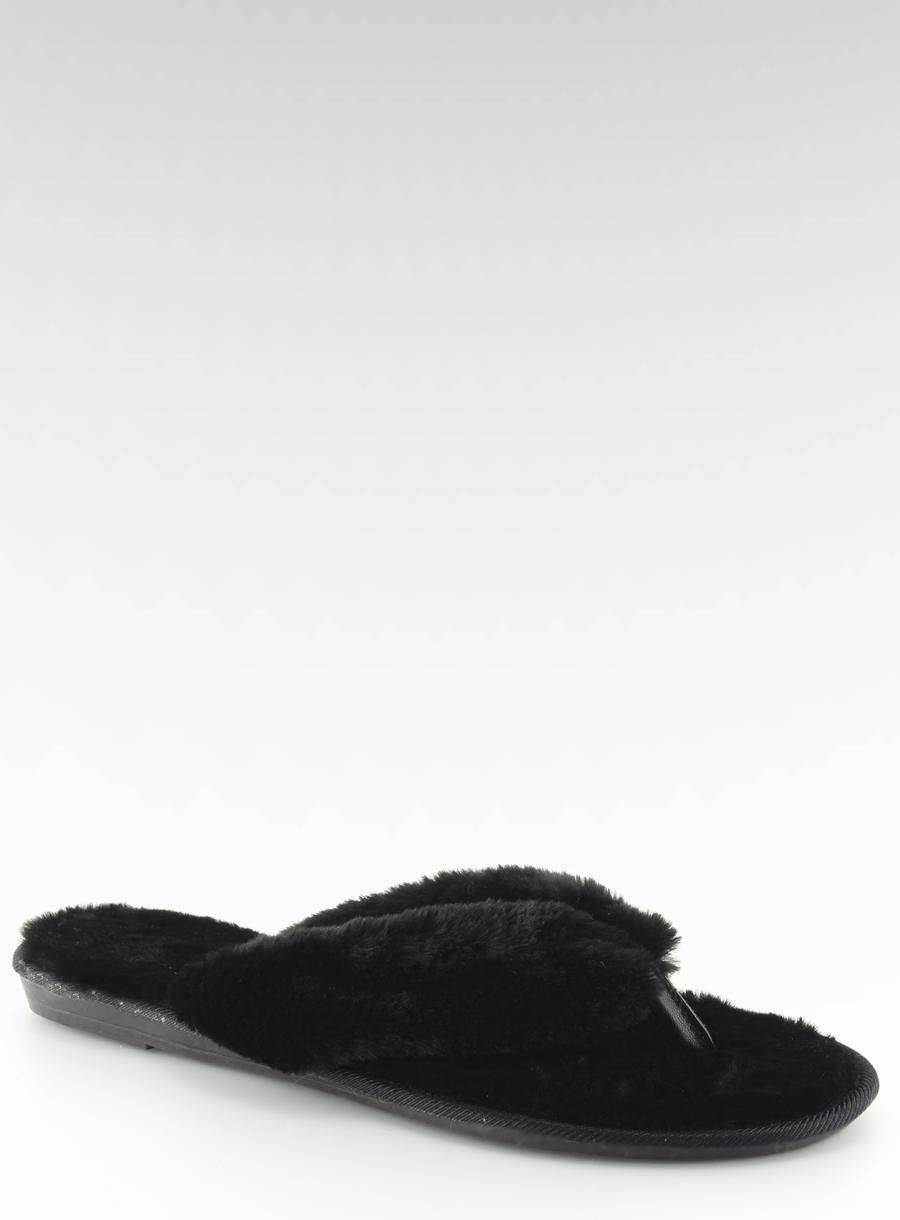 37c731386eb97 Dámske čierne kožušinové žabky - lb17-36 | dawien.sk