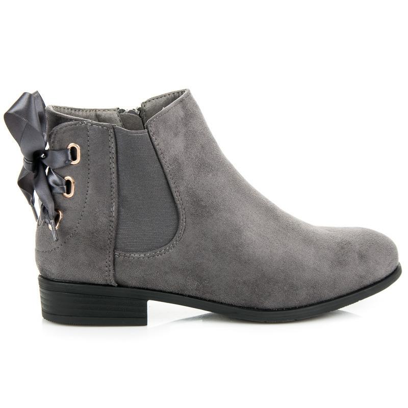 7268407c43 Dámske šedé nízke členkové topánky so stužkou - 3740G
