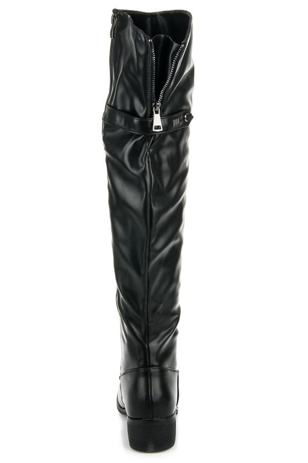 Dámske čierne vysoké čižmy nad kolená - A-21B  afa6369367b