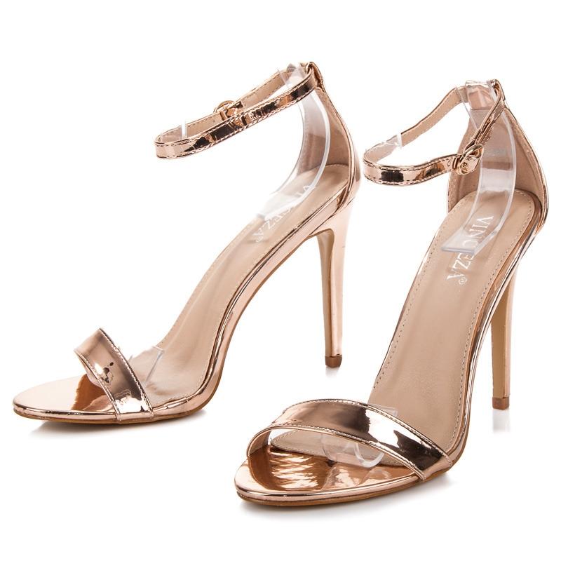 af5b17957e37 Dámske zlaté sandále na ihlovom podpätku - LE18-2838GO
