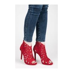 Dámske červené ažúrové sandále na zips - 1398-19R