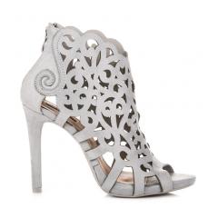 d8d6bc2db494 Dámske šedé ažúrové sandále na zips - 1398-5G