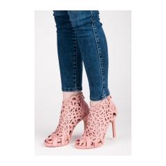 Dámske ružové ažúrové sandále na zips - 1398-20P