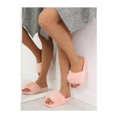 Dámske ružové kožušinové šľapky - S36