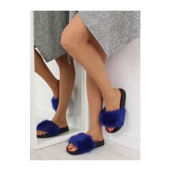 Dámske modré kožušinové šľapky - S36