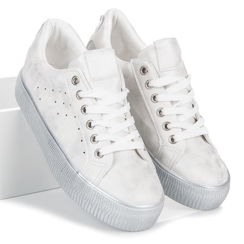 8ba4e5e656 Dámske biele tenisky na platforme - A81-20W