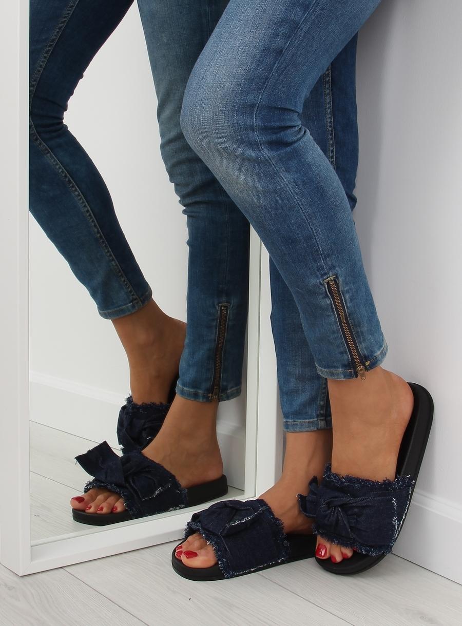 216f723e4856 Dámske tmavo modré džínsové šľapky - HN55