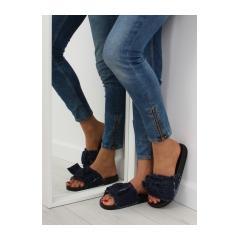 Dámske tmavo modré džínsové šľapky - HN55