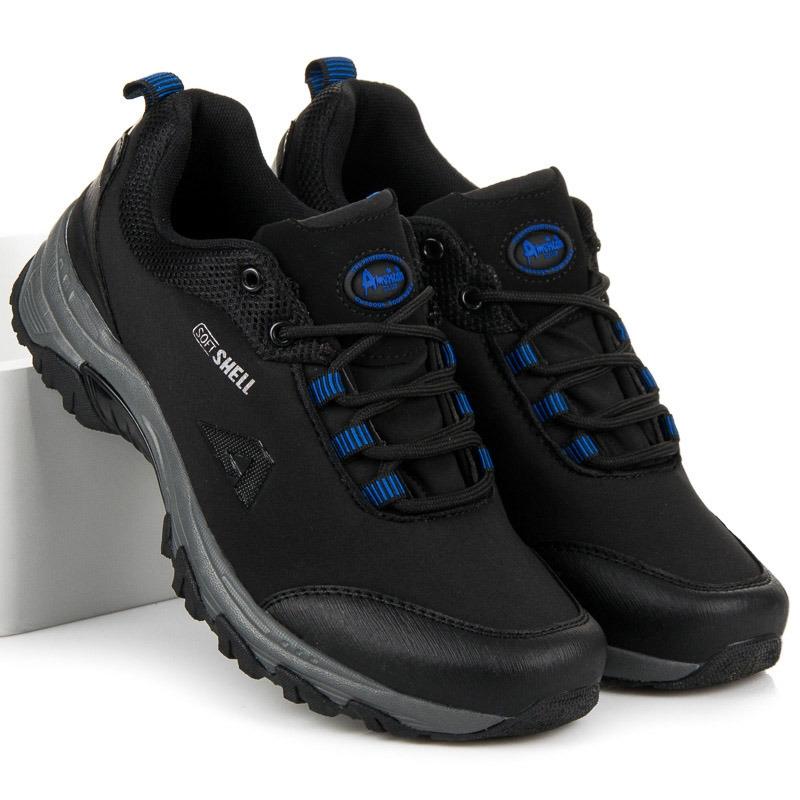 Pánske čierne trekingové topánky AMERICAN - WT1775-1B-BL  53996661b63