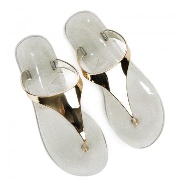 Dámske zlaté gumové žabky - RMC16-4104GO