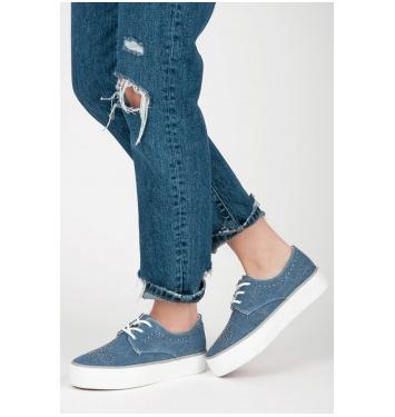 Dámske modré tenisky s kamienkami - K1832001JE