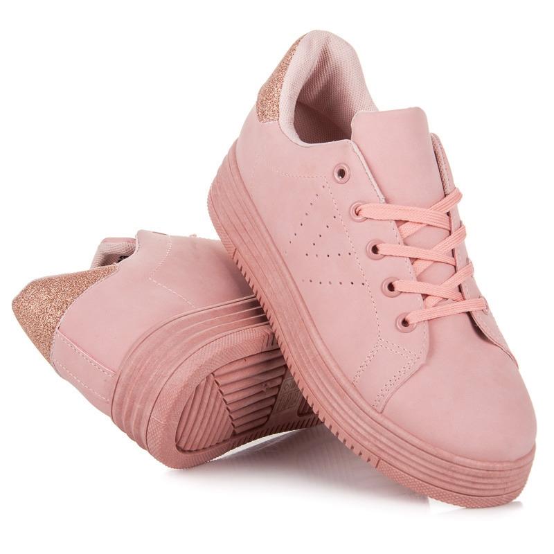 96d8cd79a248 Dámske ružové tenisky na platforme - 6204-20P