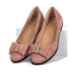 Dámske ružové semišové balerínky - 1869P