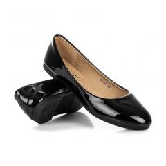 Dámske čierne lakované balerínky - C6153NE