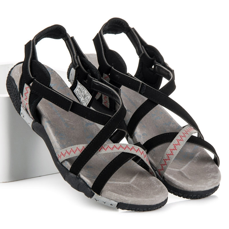 Dámske čierne sandále na suchý zips - S2193B  127b617d35e