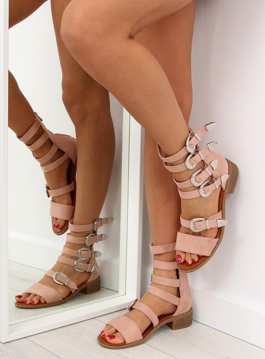141d63aa9529 Dámske ružové sandále gladiátorky - NC159