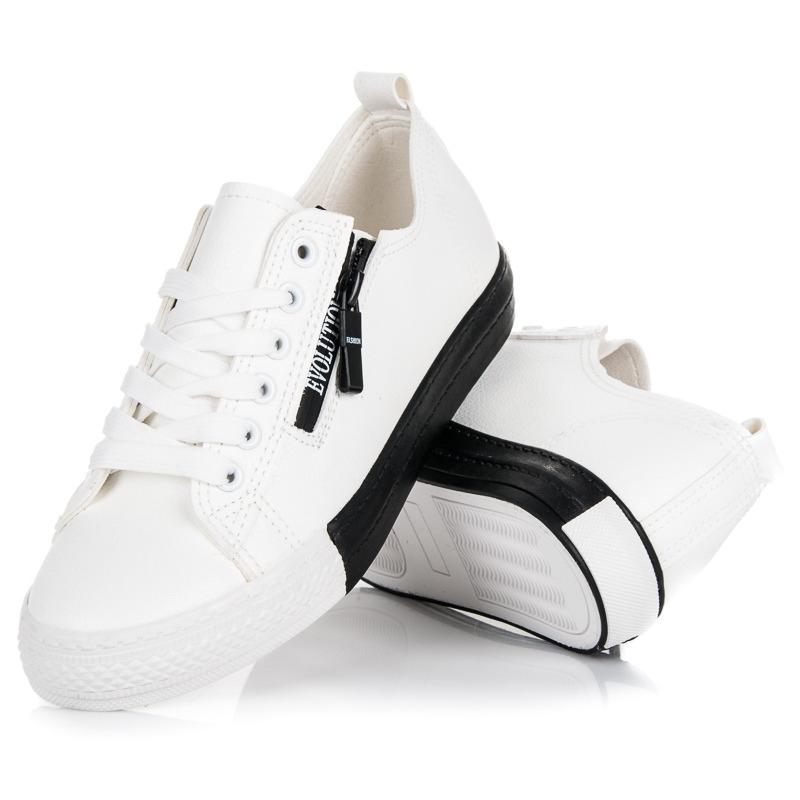 3c021ac41b0e4 Dámske biele tenisky na platforme - 16-277W | dawien.sk
