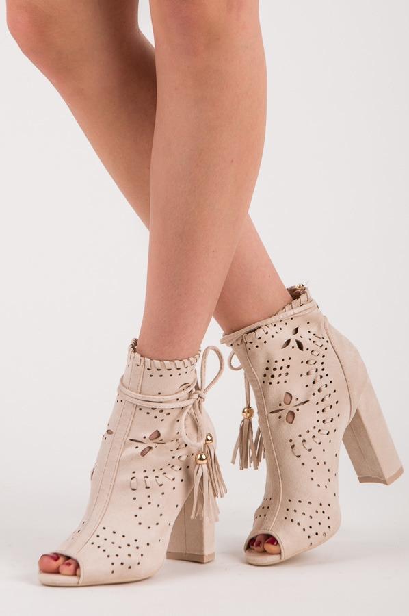 Dámske jarné ažúrové béžové členkové topánky - M285BE  aaf356c83ac