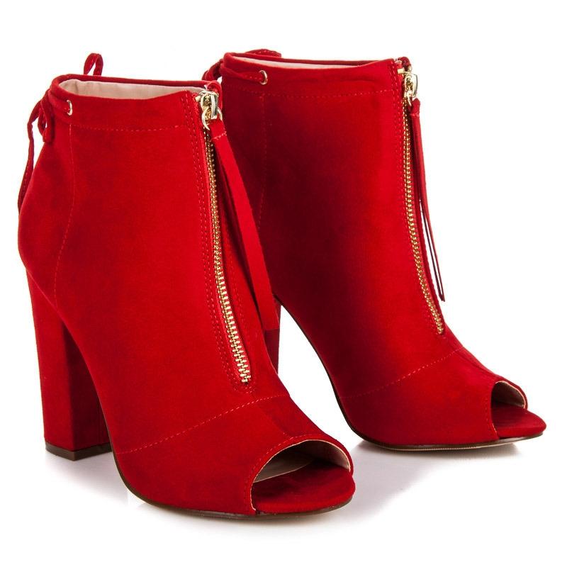 8d86c5f5a61bc Dámske červené členkové topánky na zips OPEN TOE - NF16R | dawien.sk
