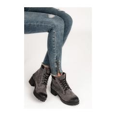 bfa16439abf18 Dámske šedé členkové topánky s protektorom - 1025/5G