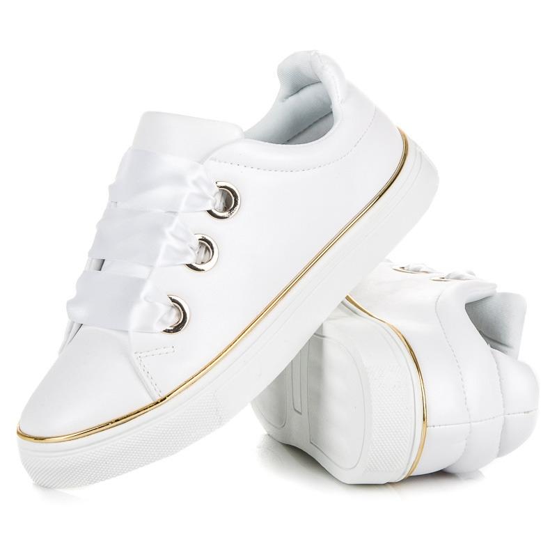 6452e3ed8afce Dámske biele tenisky so stužkou AMERICAN CLUB - J17152W | dawien.sk