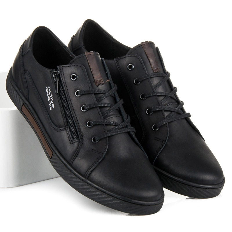 6722d7b8e9 Pánske čierne kožené tenisky - JO-19B