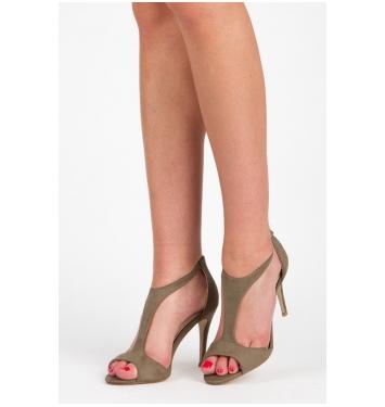 Olivové semišové sandále na zips - 077-37GR