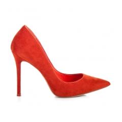 Dámske oranžové semišové lodičky - 5438-036OR
