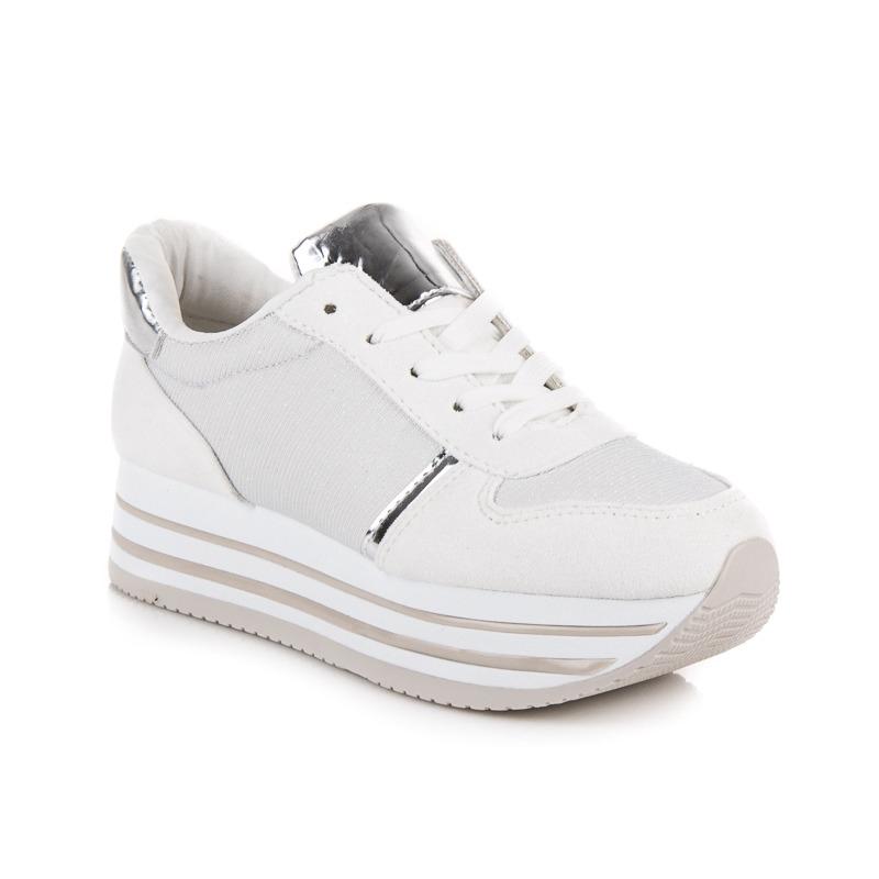 Dámske biele tenisky na platforme - NB182W  9d979588bd9