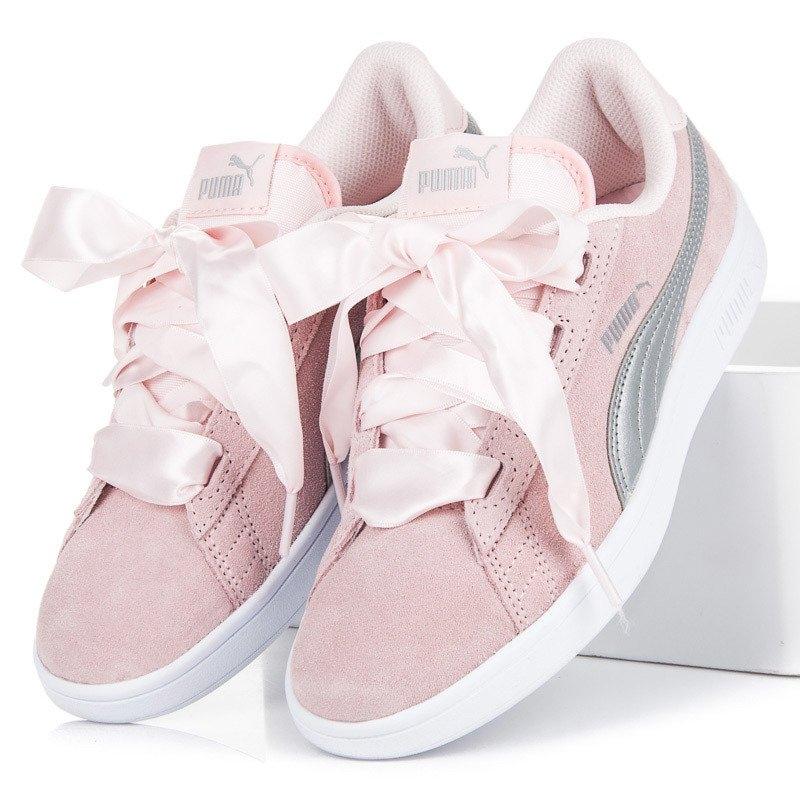 d3420f5ce754 Dámske ružové tenisky PUMA SMASH V2 RIBBON JR - 36600302