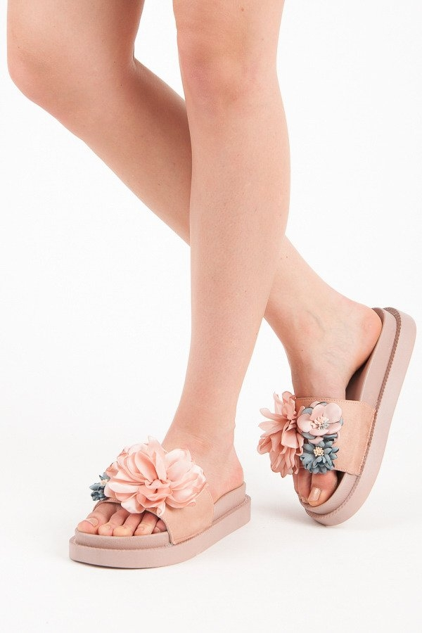 fcdd6d1ab39f Dámske ružové gumené šľapky FLOWERS - AK04P