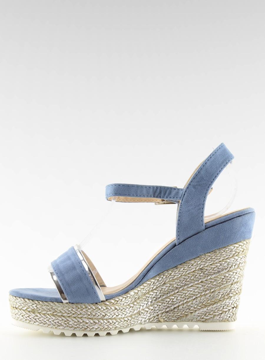 d60e4355b7ca7 Dámske modré semišové sandále na platforme - 6823 | dawien.sk