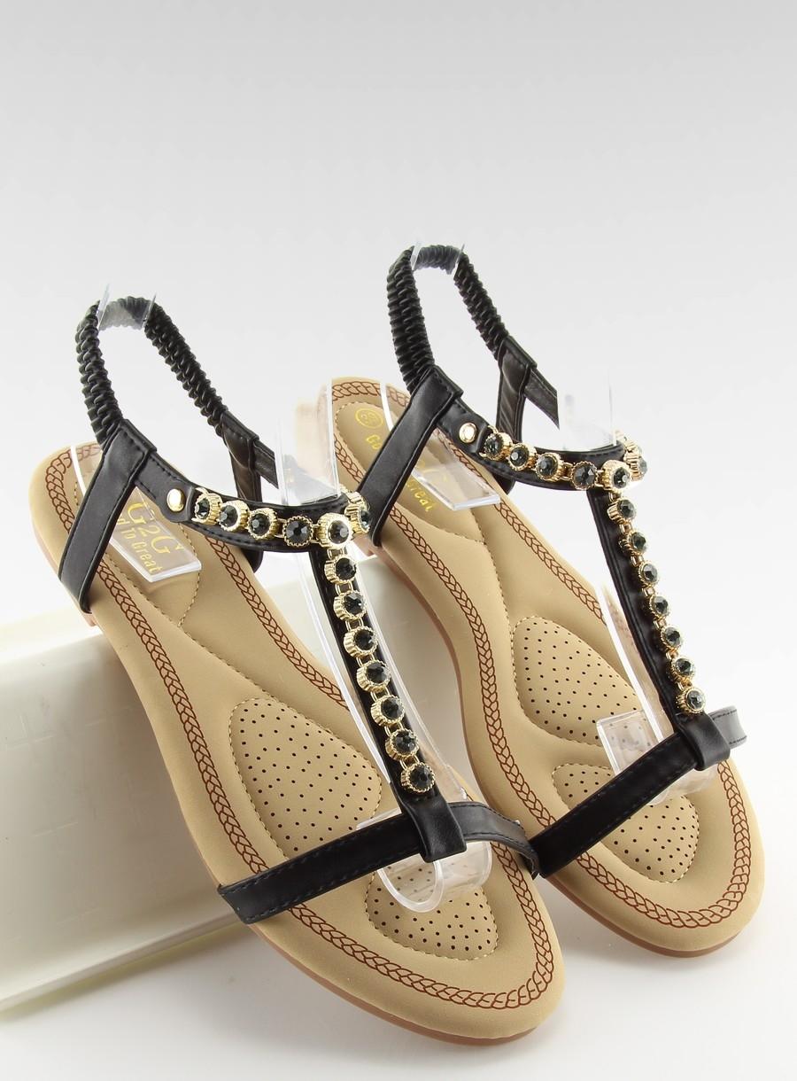 8cc59c2a4f3d Dámske ploché čierne sandále s kamienkami- AS10875