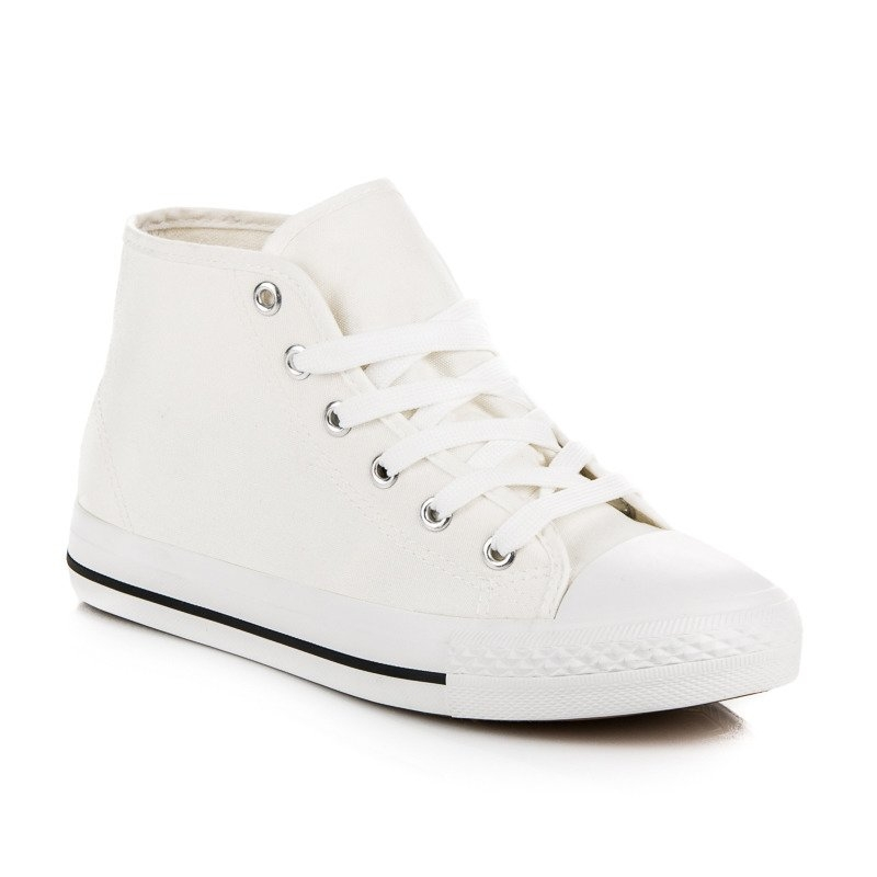 65605f836f Dámske biele členkové tenisky - 16-296W