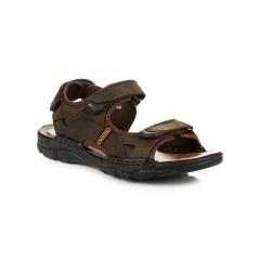 Pánske hnedé kožené sandále - REF18-9710BR